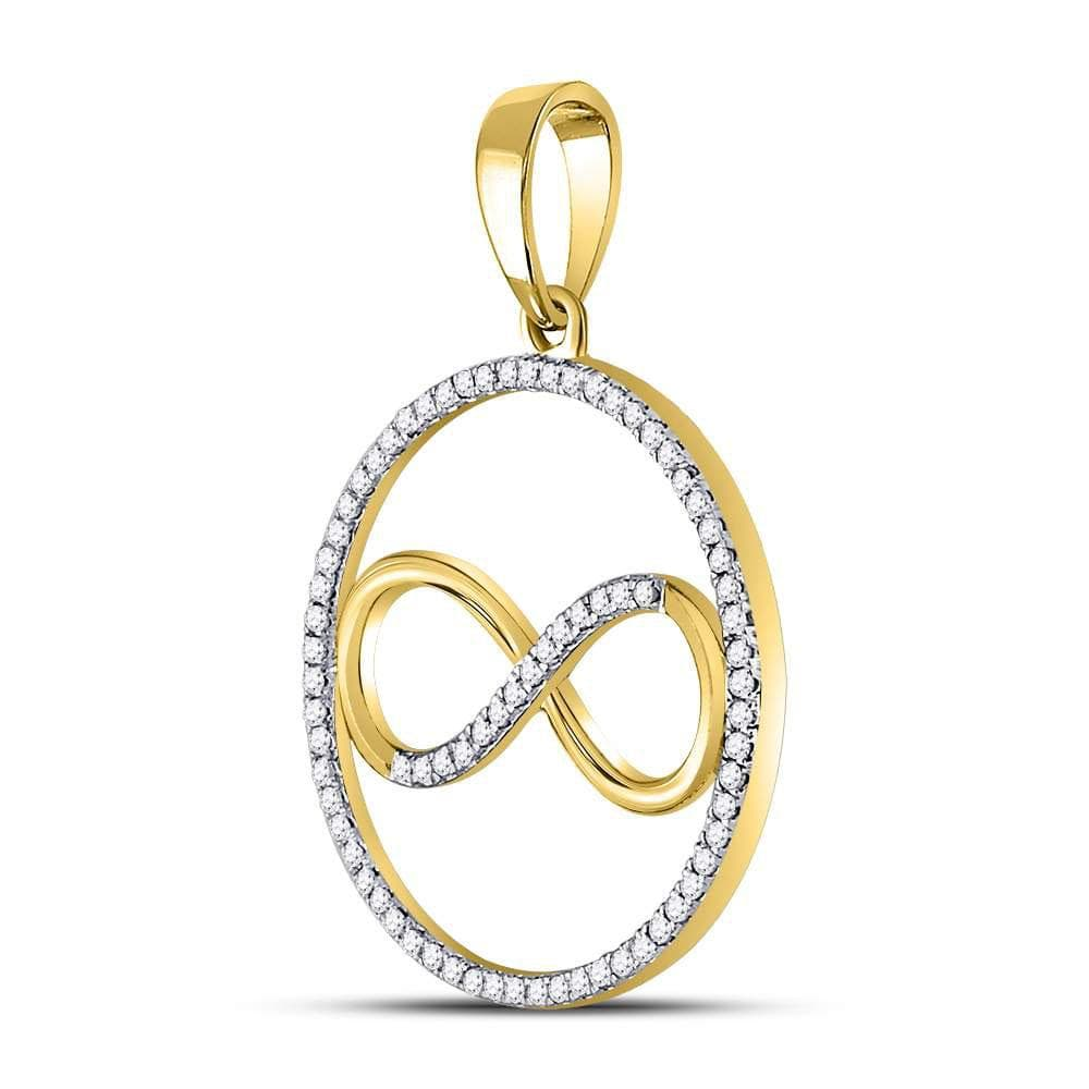 10kt Yellow Gold Womens Round Diamond Circle Infinity Pendant 1/3 Cttw