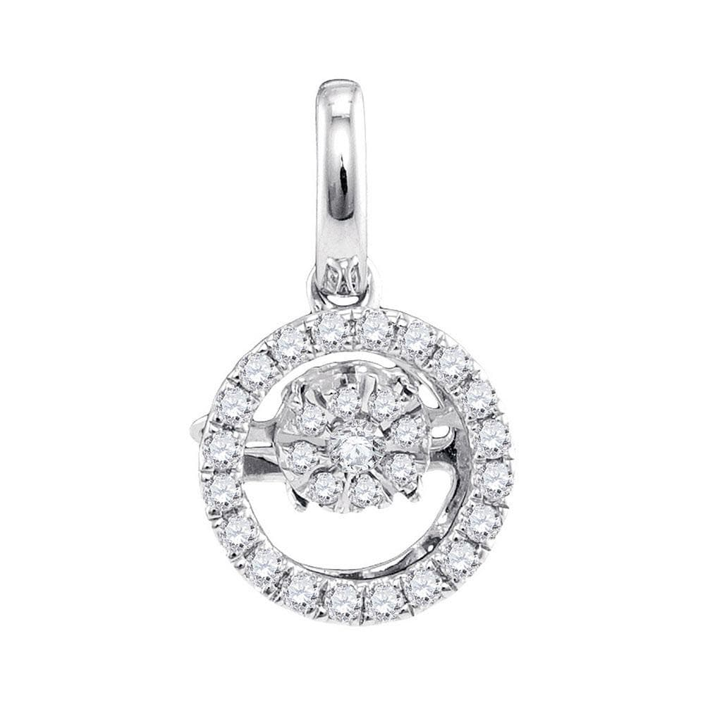 10kt White Gold Womens Round Diamond Moving Twinkle Solitaire Pendant 1/8 Cttw
