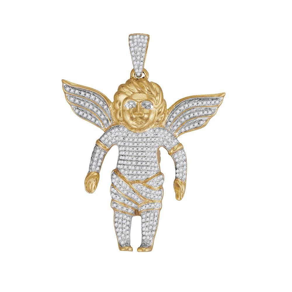10kt Yellow Gold Mens Round Diamond Guardian Angel Charm Pendant 7/8 Cttw