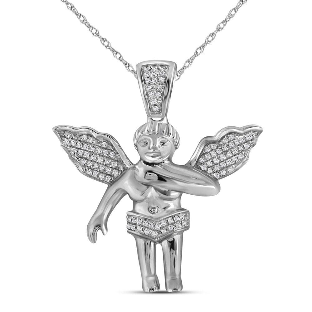 10kt White Gold Mens Round Diamond Angel Cherub Charm Pendant 1/6 Cttw