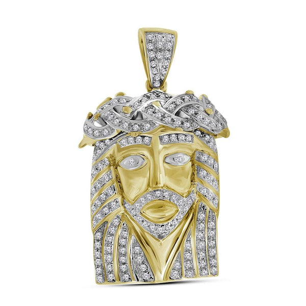 10kt Yellow Gold Mens Round Diamond Jesus Face Christ Charm Pendant 5/8 Cttw