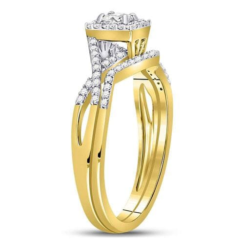 14kt Yellow Gold Womens Princess Diamond Bridal Wedding Engagement Ring Band Set 1/3 Cttw