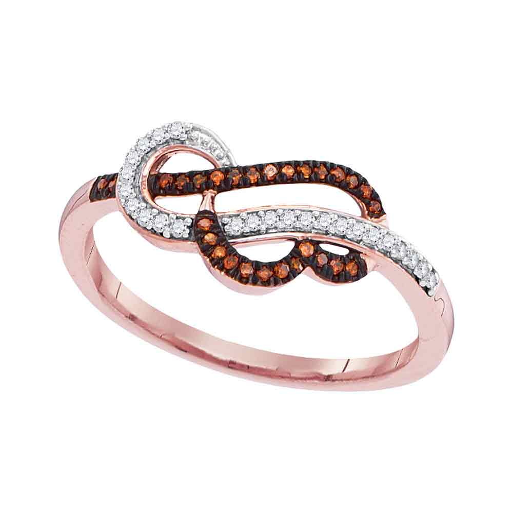 10kt Rose Gold Womens Round Red Color Enhanced Diamond Heart Strand Ring 1/8 Cttw