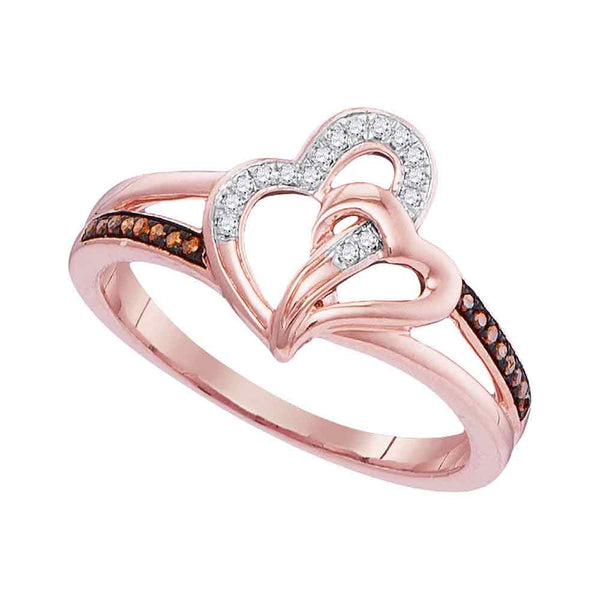 10kt Rose Gold Womens Round Red Color Enhanced Diamond Joined Hearts Ring 1/10 Cttw