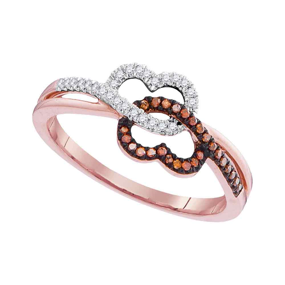 10kt Rose Gold Womens Round Red Color Enhanced Diamond Double Linked Heart Ring 1/6 Cttw
