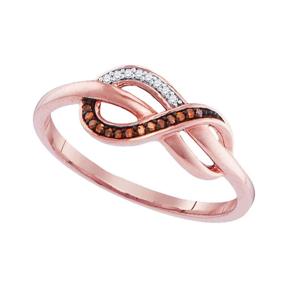 10kt Rose Gold Womens Round Red Color Enhanced Diamond Infinity Ring 1/20 Cttw