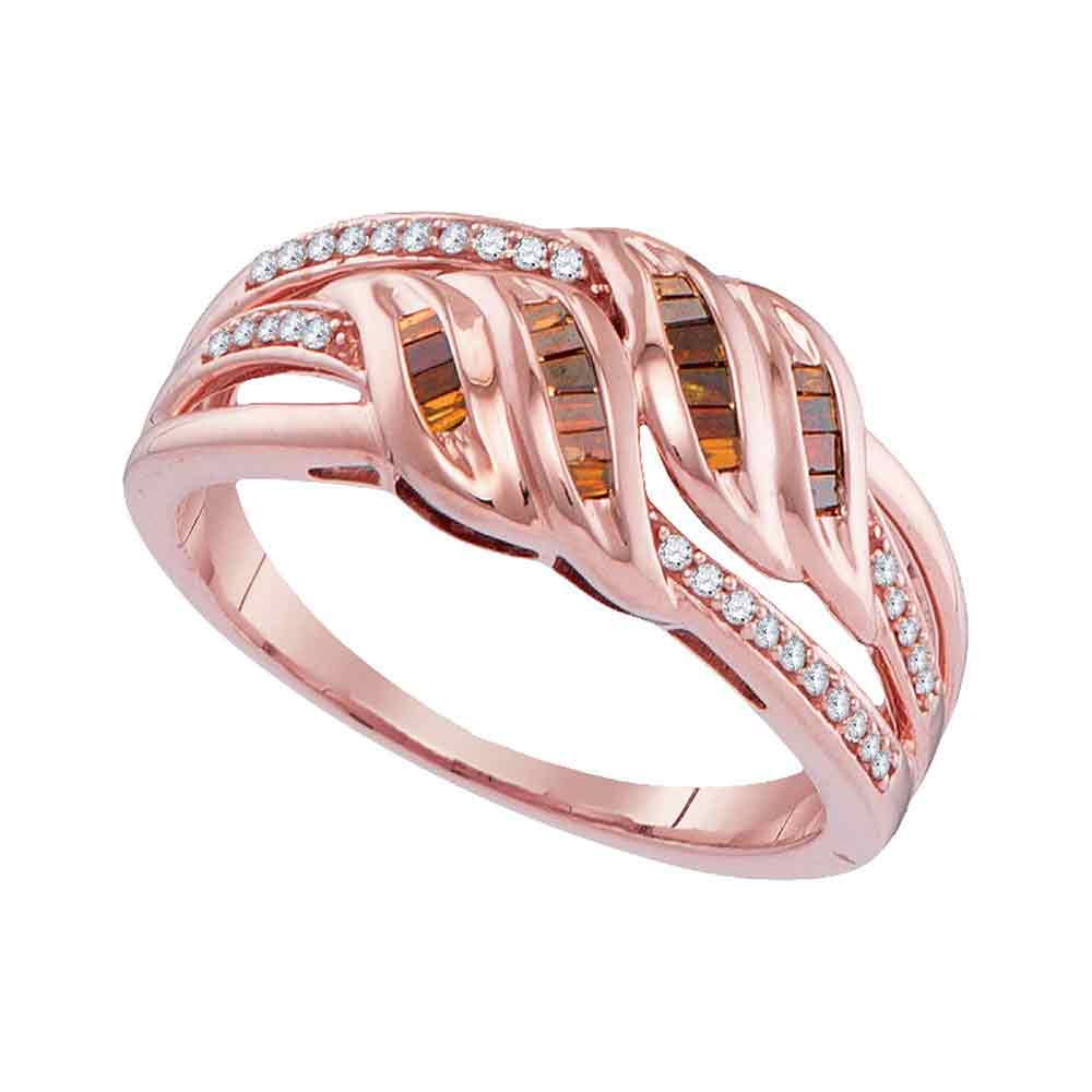 10kt Rose Gold Womens Princess Red Color Enhanced Diamond Strand Band Ring 1/4 Cttw