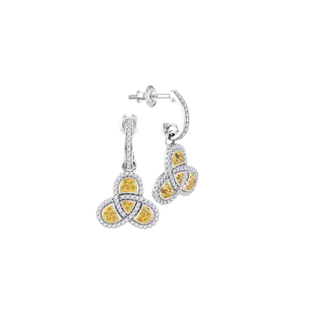 10kt White Gold Womens Round Yellow Color Enhanced Diamond Triquetra Trinity Dangle Earrings 1/2 Cttw