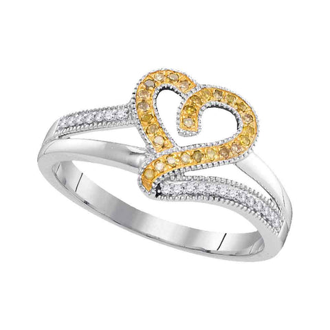 10kt White Gold Womens Round Yellow Color Enhanced Diamond Heart Love Ring 1/8 Cttw