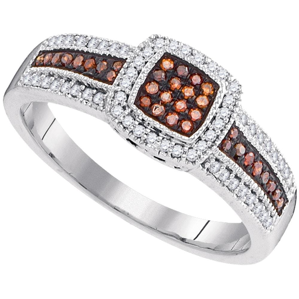 10kt White Gold Womens Round Red Color Enhanced Diamond Square Frame Cluster Ring 1/4 Cttw