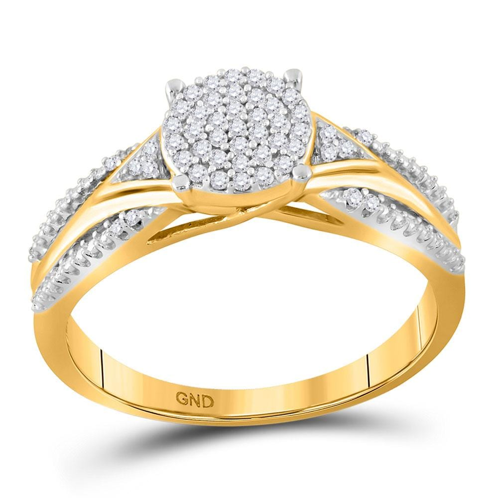 10kt Yellow Gold Womens Round Diamond Cluster Bridal Wedding Engagement Ring 1/6 Cttw