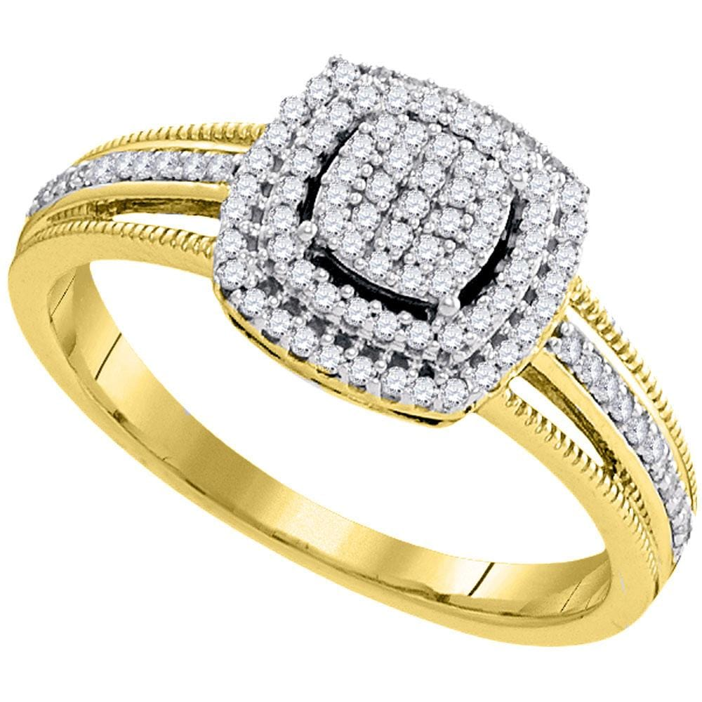 10kt Yellow Gold Womens Round Diamond Square Cluster Bridal Wedding Engagement Ring 1/4 Cttw