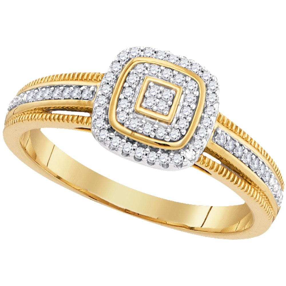 10kt Yellow Gold Womens Round Diamond Cluster Square Frame Milgrain Ring 1/6 Cttw