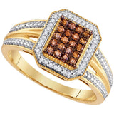 10kt Yellow Gold Womens Round Brown Color Enhanced Diamond Cluster Ring 1/4 Cttw