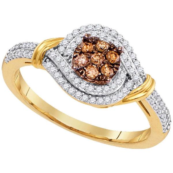 10kt Yellow Gold Womens Round Brown Color Enhanced Diamond Cluster Ring 1/3 Cttw
