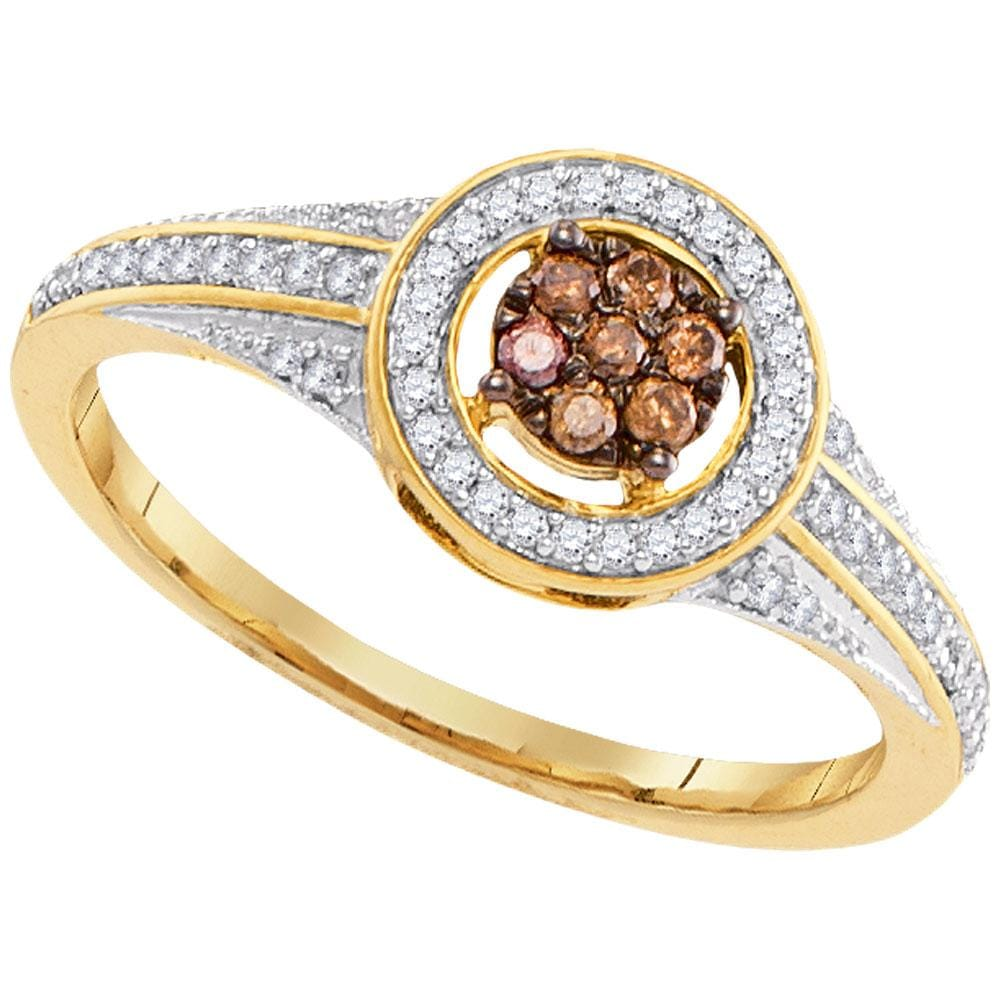 10kt Yellow Gold Womens Round Cognac-brown Color Enhanced Diamond Framed Cluster Ring 1/4 Cttw