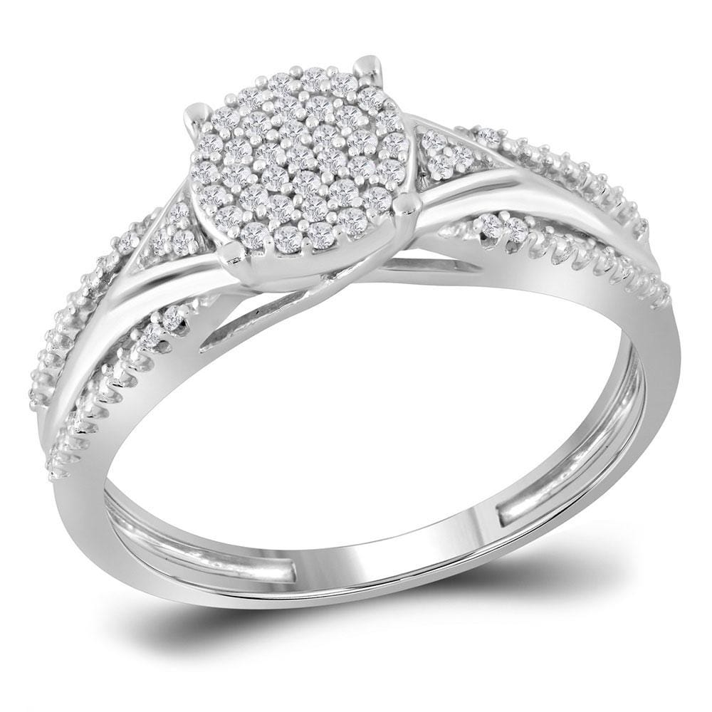 10kt White Gold Womens Round Diamond Cluster Bridal Wedding Engagement Ring 1/6 Cttw