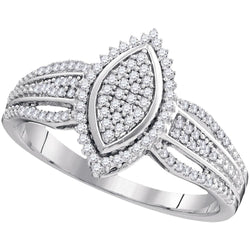 10kt White Gold Womens Round Diamond Oval Cluster Ring 1/4 Cttw