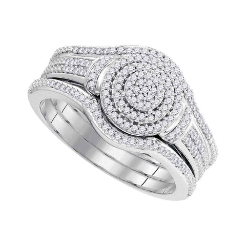 10kt White Gold Womens Round Diamond 3-Piece Bridal Wedding Engagement Ring Band Set 1/3 Cttw