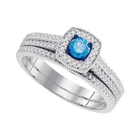 10kt White Gold Womens Round Blue Color Enhanced Diamond Bridal Wedding Engagement Ring Band Set 1/2 Cttw