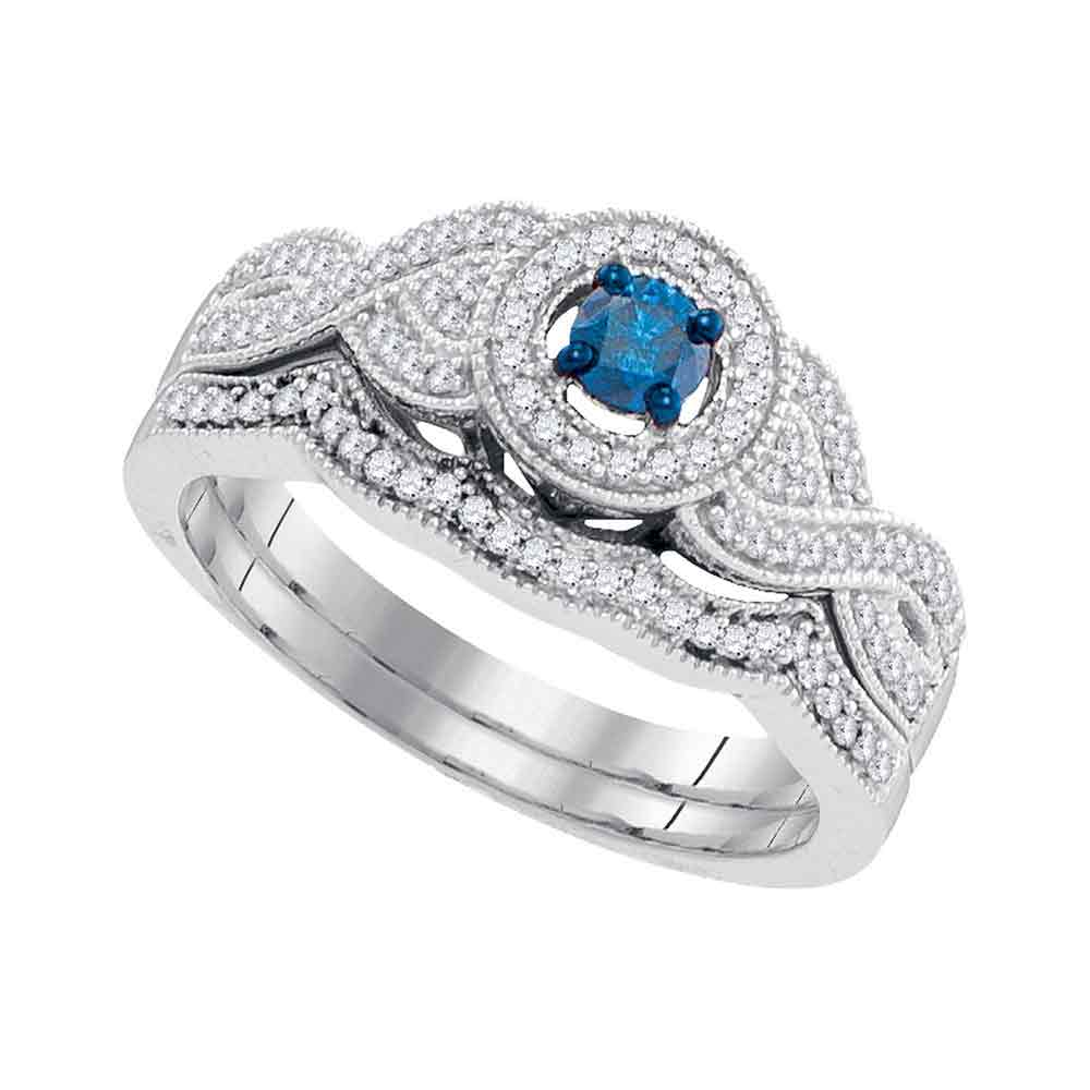 10kt White Gold Womens Round Blue Color Enhanced Diamond Twist Bridal Wedding Engagement Ring Band Set 3/8 Cttw