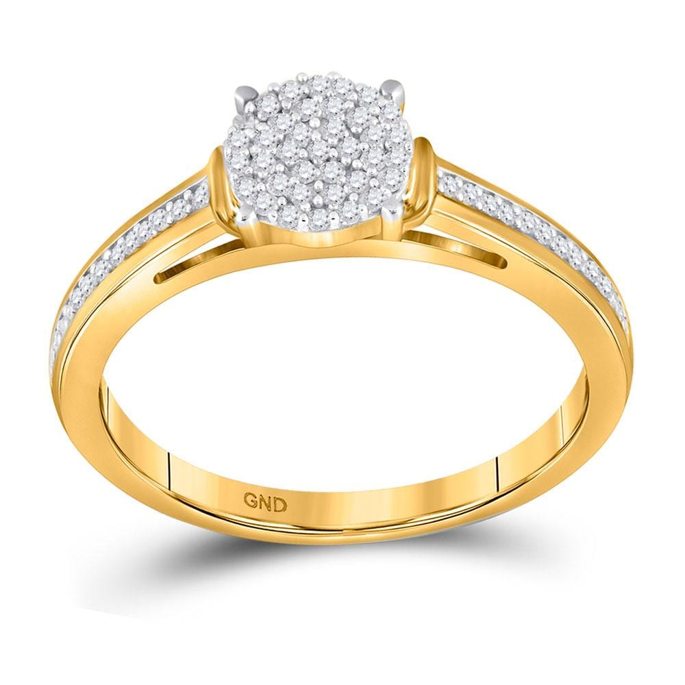 10kt Yellow Gold Womens Round Diamond Cluster Bridal Wedding Engagement Ring 1/5 Cttw