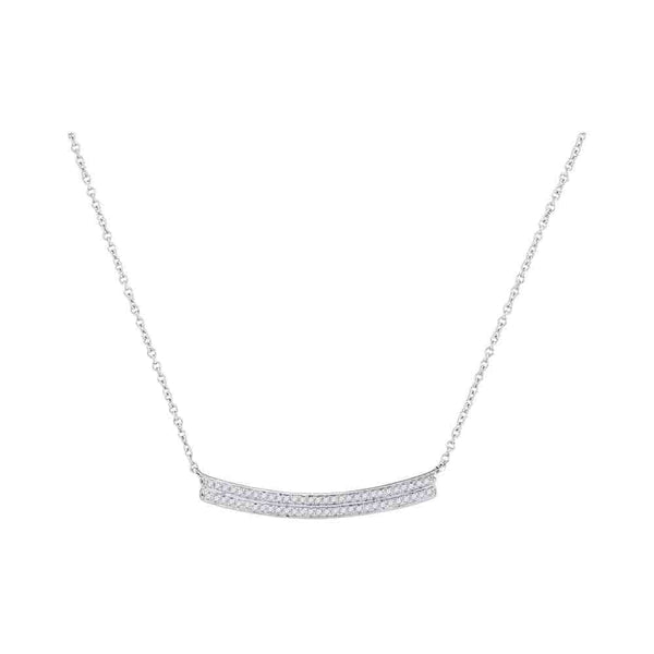 10kt White Gold Womens Round Diamond Curved Two-row Bar Pendant Necklace 1/6 Cttw