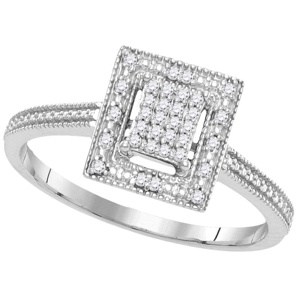 10kt White Gold Womens Round Diamond Square Yellow-tone Cluster Ring 1/10 Cttw