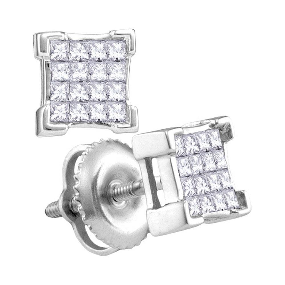 10kt White Gold Womens Princess Diamond Square Cluster Screwback Earrings 1/4 Cttw