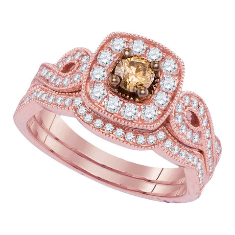 14kt Rose Gold Womens Round Cognac-brown Diamond Bridal Wedding Engagement Ring Band Set 3/4 Cttw
