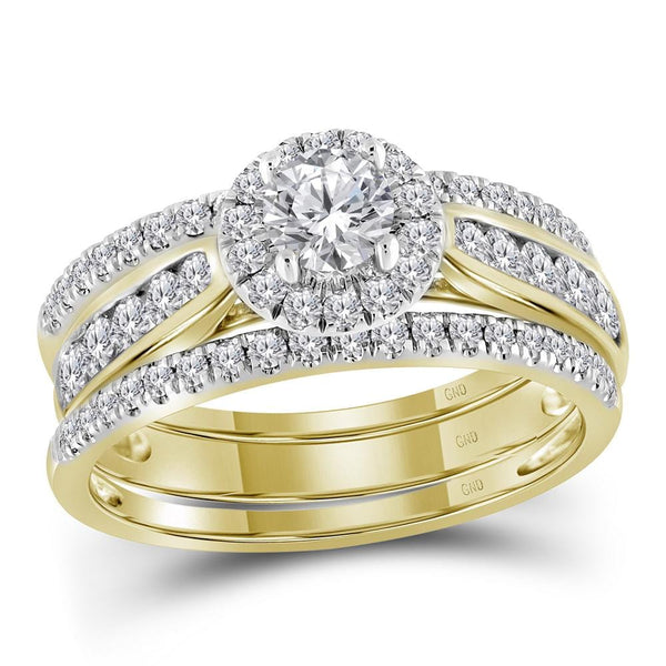 14kt Yellow Gold Womens Round 3-Piece Diamond Bridal Wedding Engagement Ring Band Set 1.00 Cttw