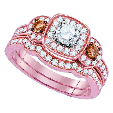 14kt Rose Gold Womens Round Diamond Bridal Wedding Engagement Ring Band Set 1.00 Cttw