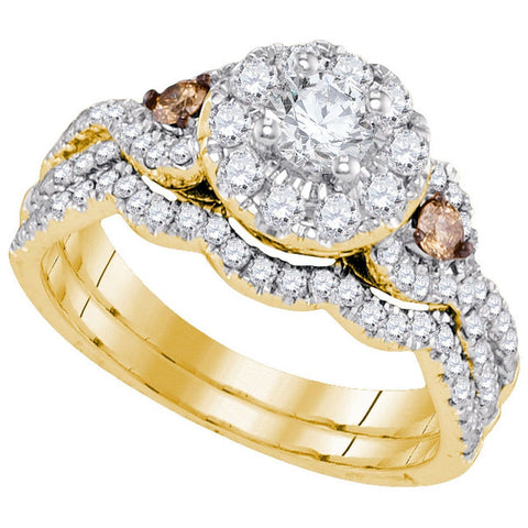 14kt Yellow Gold Womens Round Diamond Bridal Wedding Engagement Ring Band Set 1-1/10 Cttw