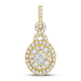 14kt Yellow Gold Womens Princess Round Diamond Soleil Cluster Pendant 1/2 Cttw