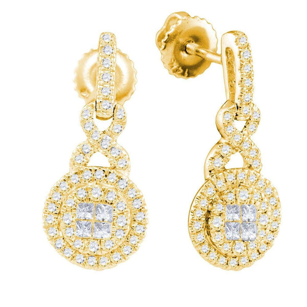 14kt Yellow Gold Womens Princess Round Diamond Soleil Cluster Dangle Earrings 1/2 Cttw