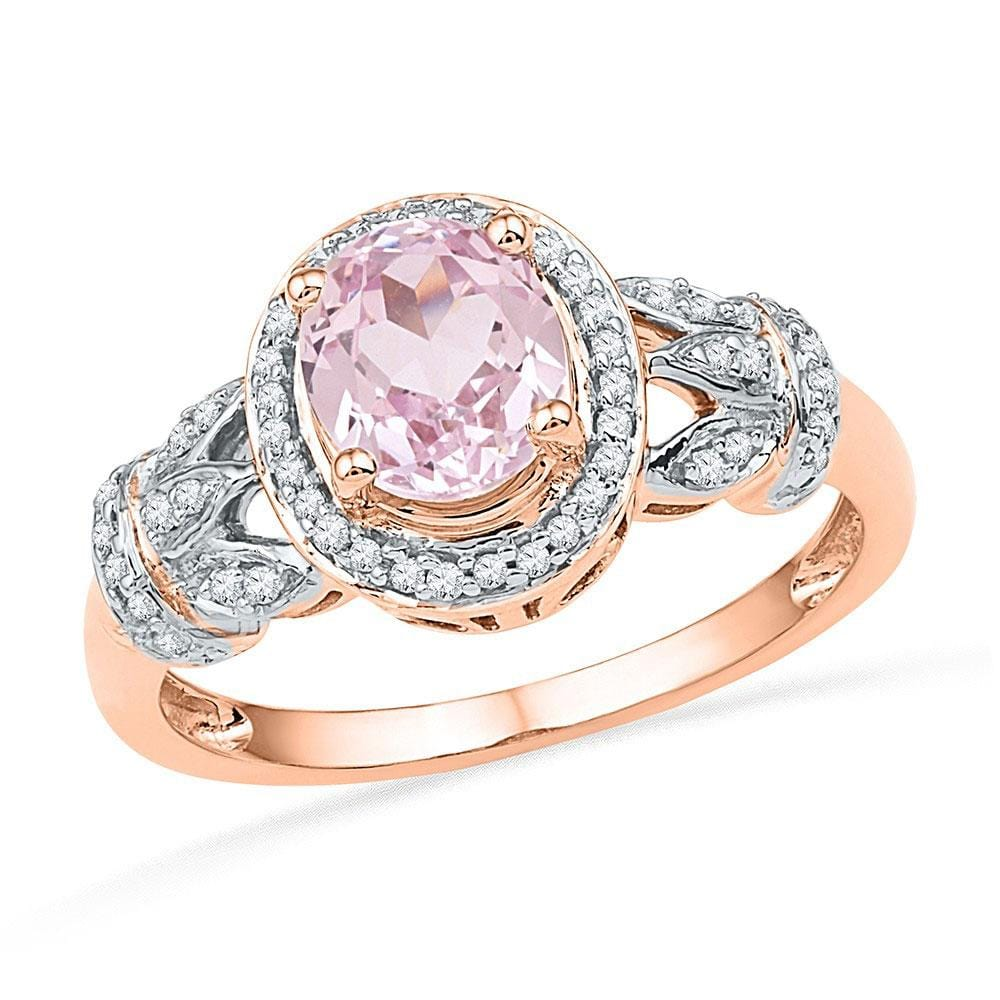 10kt Rose Gold Womens Oval Morganite Diamond Solitaire Ring 1 Cttw
