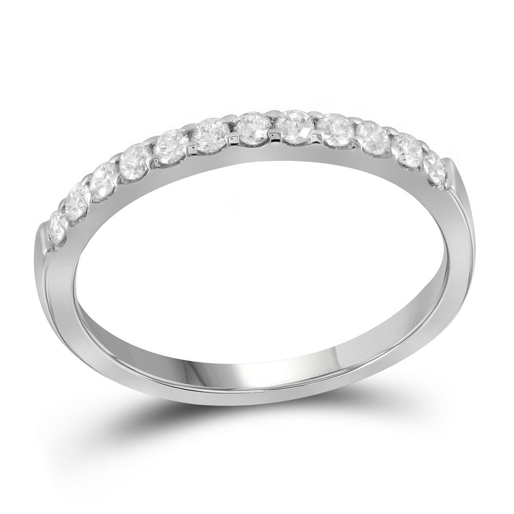 14kt White Gold Womens Round Pave-set Diamond Single Row Wedding Band 1/4 Cttw