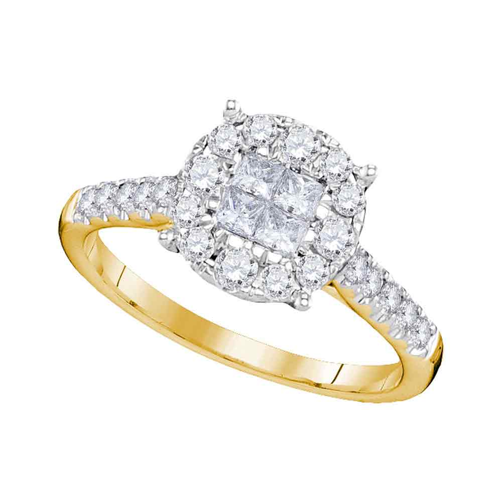 14kt Yellow Gold Womens Princess Round Diamond Soleil Cluster Bridal Wedding Engagement Ring 3/4 Cttw