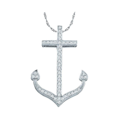 10kt White Gold Womens Round Diamond Anchor Nautical Pendant 1/6 Cttw