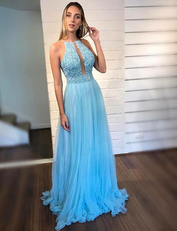 Halter Sky Blue Tulle Prom Dresses Long Evening Dresses with Beadings-simibridal