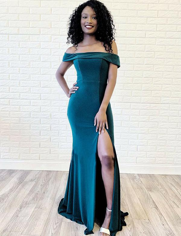 Dark Green Sheath Prom Dress Long Satin Evening Dresses-simibridal