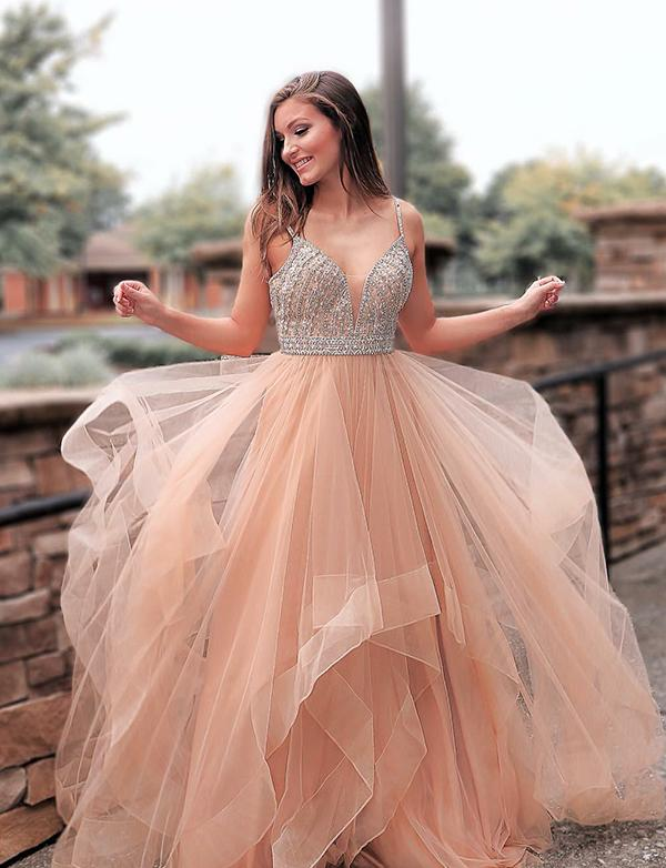 Spaghetti Straps Tulle Prom Dress with Beadings Ball Gown-simibridal