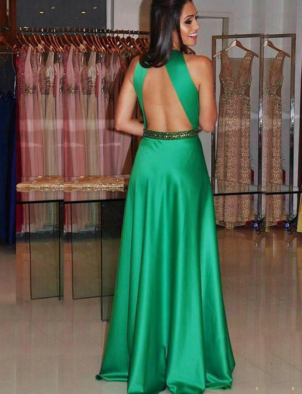 Green A Line Prom Dresses with Beadings Satin Open Back Evening Dresses-simibridal