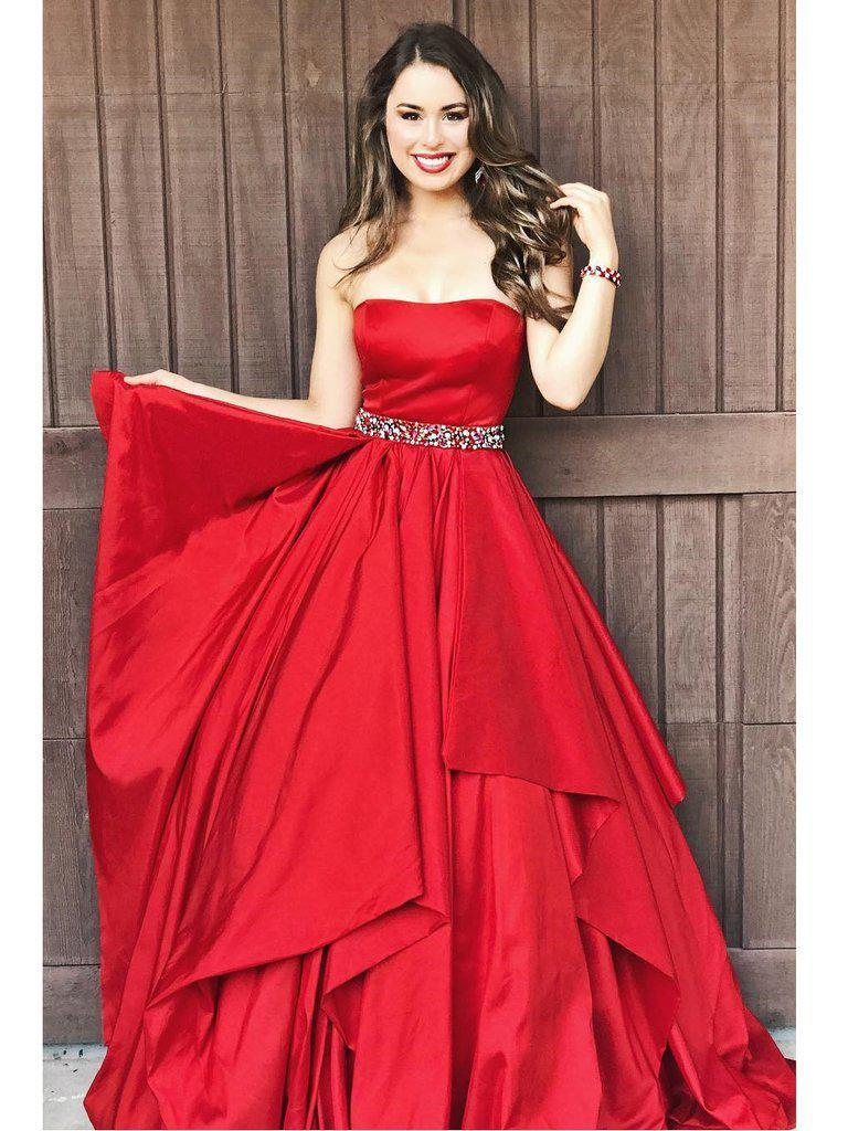 simibridal Red Strapless Satin Prom Dresses with Layers-simibridal