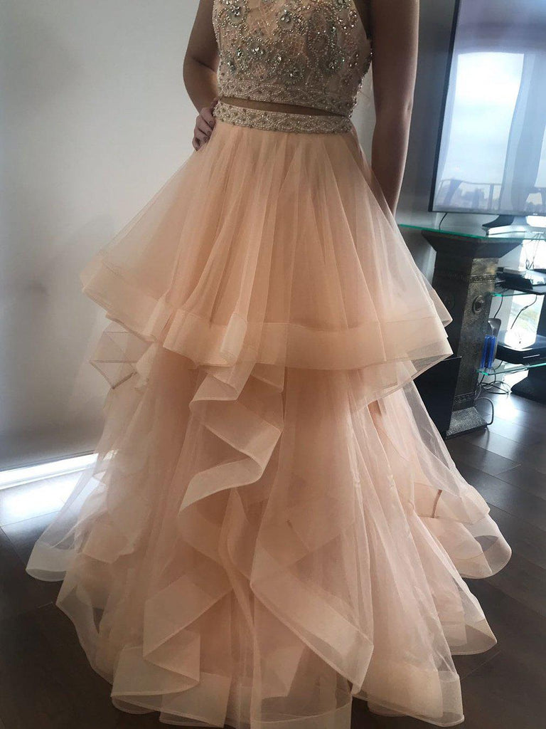 Simisprom Two Pieces Prom Ball Gown Floor Length Tulle Evening Dress with Layers-SIMISPROM