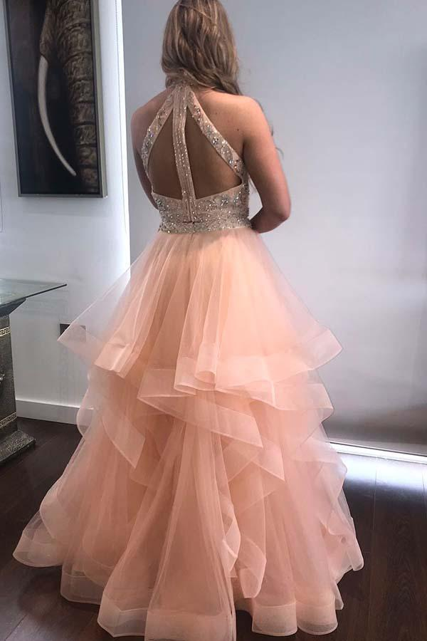 simibridal Two Pieces Prom Ball Gown Floor Length Tulle Evening Dress with Layers-simibridal