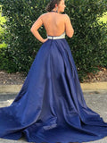simibridal Royal Blue V-neck Backless Prom Dress with Beadings-simibridal