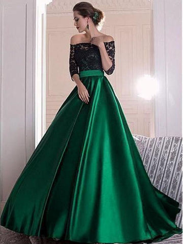 simibridal Dark Green Satin Prom Dress with Half Sleeves-simibridal