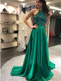 simibridal Dark Green Halter Satin Prom Dress with Beadings-simibridal