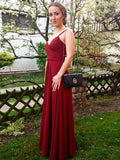 simibridal Burgundy Straps Long Satin Prom Dress-simibridal